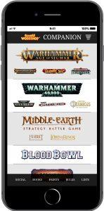 GW Companion App Home Screen
